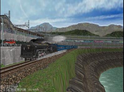 越河レイアウト見張線C62お座敷列車編成2