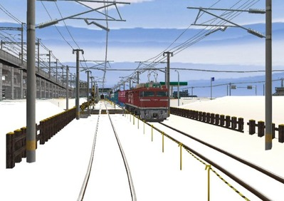 仮想日本海縦幹線雪景色春霞3