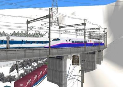 仮想日本海縦幹線雪景色トンネル新幹線2