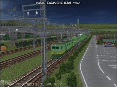 越河レイアウト夜汽車シリーズ18-EF58-45青大将コンテナ4
