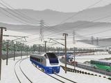 奥中山大カーブ冬景色E653系2青