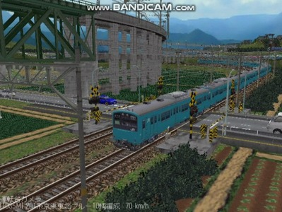 越河レイアウト電車シリーズ70-201系京浜東北スカイブルー9