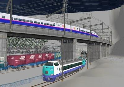 仮想日本海縦幹線雪景色月明かりトンネル出口2