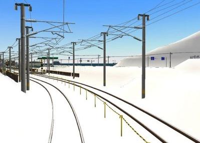 仮想日本海縦幹線雪景色完成青空1