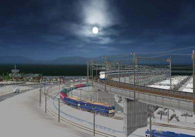 仮想日本海縦幹線雪景色海岸線上空下り線1
