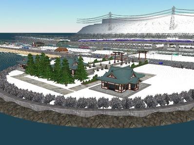 仮想日本海縦幹線雪景色神社1