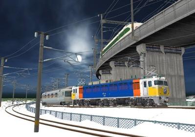 仮想日本海縦幹線雪景色カーブ9カシオペア
