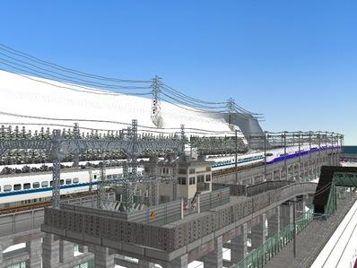 仮想日本海縦幹線雪景色新幹線変電所1