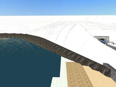 仮想日本海縦幹線雪景色神社海岸線1