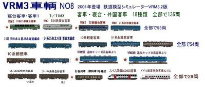 新VRM3車両NO8客車、寝台車