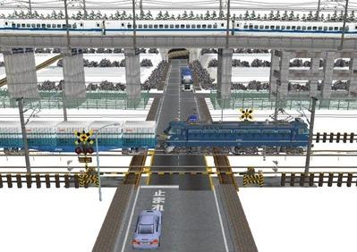 仮想日本海縦幹線雪景色踏切A9