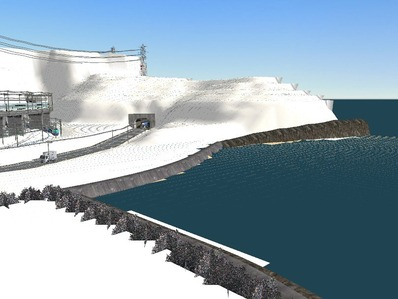 仮想日本海縦幹線雪景色神社海岸線2
