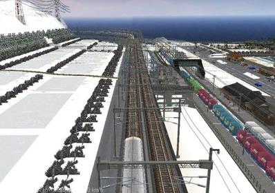 仮想日本海縦幹線雪景色夜明け前 新幹線上空2