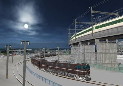 仮想日本海縦幹線雪景色月明かり海岸線2