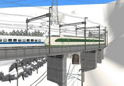 仮想日本海縦幹線雪景色トンネル新幹線3