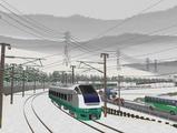 奥中山大カーブ冬景色E653系7緑色