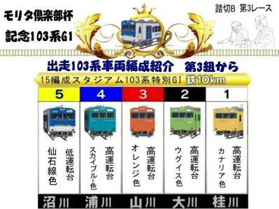 モリタ倶楽部杯記念103系踏切B第3レース出走車両3