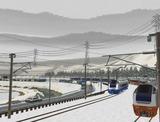 奥中山大カーブ冬景色E653系9オレンジ