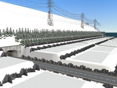 仮想日本海縦幹線雪景色制作16
