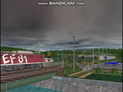 VRM3版気越河東北本線越河踏切背景12どんてん曇り空