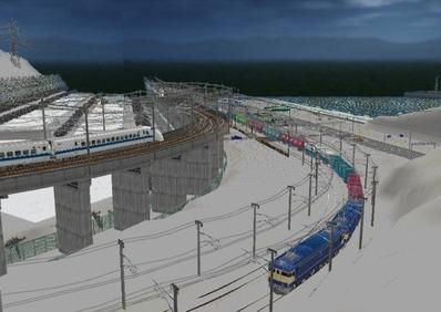 仮想日本海縦幹線雪景色海岸線上空上り線3