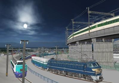 仮想日本海縦幹線雪景色月明かり海岸線1