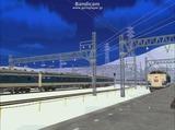北の貨物駅通過中583系はつかり-2