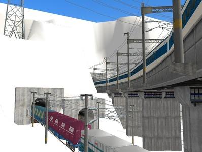 仮想日本海縦幹線雪景色制作9