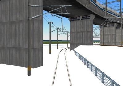 仮想日本海縦幹線雪景色制作7