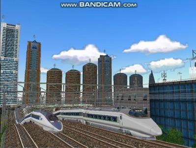 新幹線勾配区間走行レイアウト複々線1