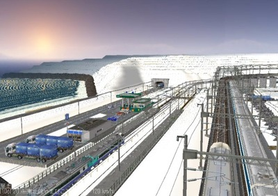 仮想日本海縦幹線雪景色夜明け前 新幹線上空6