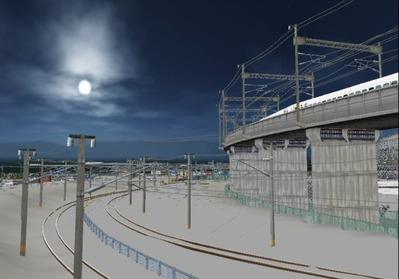仮想日本海縦幹線雪景色月明かり海岸線4