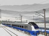 奥中山大カーブ冬景色E653系1青