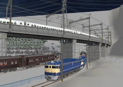 仮想日本海縦幹線雪景色月明かりトンネル出口1