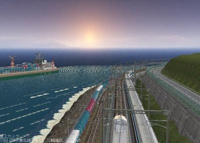仮想日本海縦幹線雪景色夜明け前 新幹線上空7