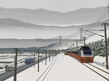 奥中山大カーブ冬景色E653系10オレンジ