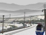 奥中山大カーブ冬景色E653系11ゴレンジャー