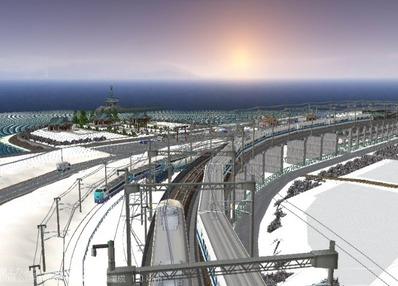 仮想日本海縦幹線雪景色夜明け前 新幹線上空1