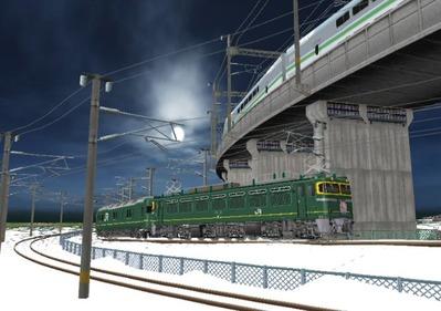仮想日本海縦幹線雪景色カーブ8トワイライト