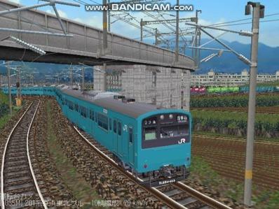 越河レイアウト電車シリーズ70-201系京浜東北スカイブルー6