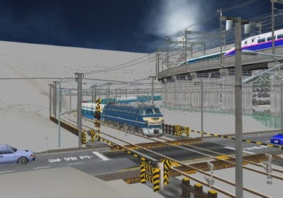 仮想日本海縦幹線雪景色月明かり踏切通過1