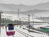 奥中山大カーブ冬景色E653系5赤色