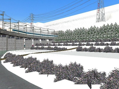 仮想日本海縦幹線雪景色制作15