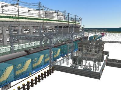 仮想日本海縦幹線雪景色在来線変電所7