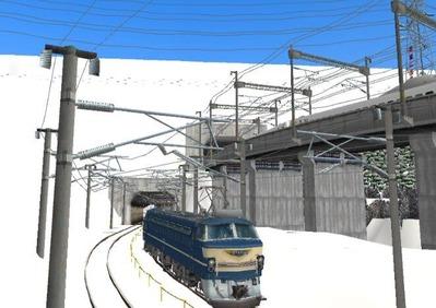 仮想日本海縦幹線雪景色トンネル在来線6下り