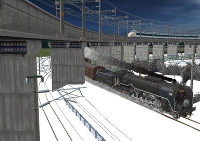仮想日本海縦幹線雪景色C62-14