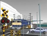 雪景色と貨物交換駅レイアウト踏切12.jpg