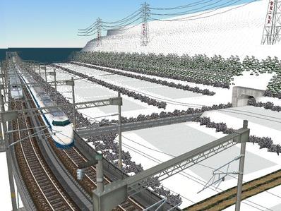 仮想日本海縦幹線雪景色制作18