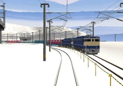 仮想日本海縦幹線雪景色春霞2