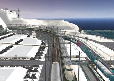 仮想日本海縦幹線雪景色夜明け前 新幹線上空3